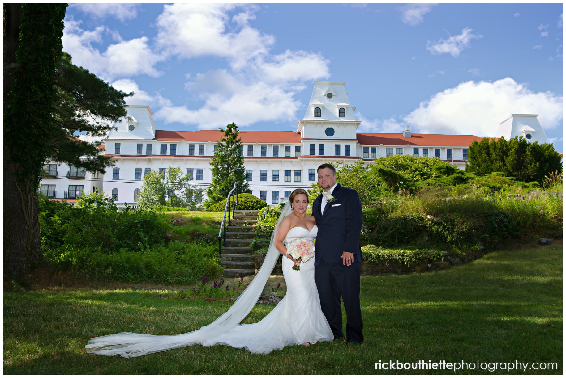 Sea Wedding Bride And Groom In The Garden With Hotel Background At Wentworth By