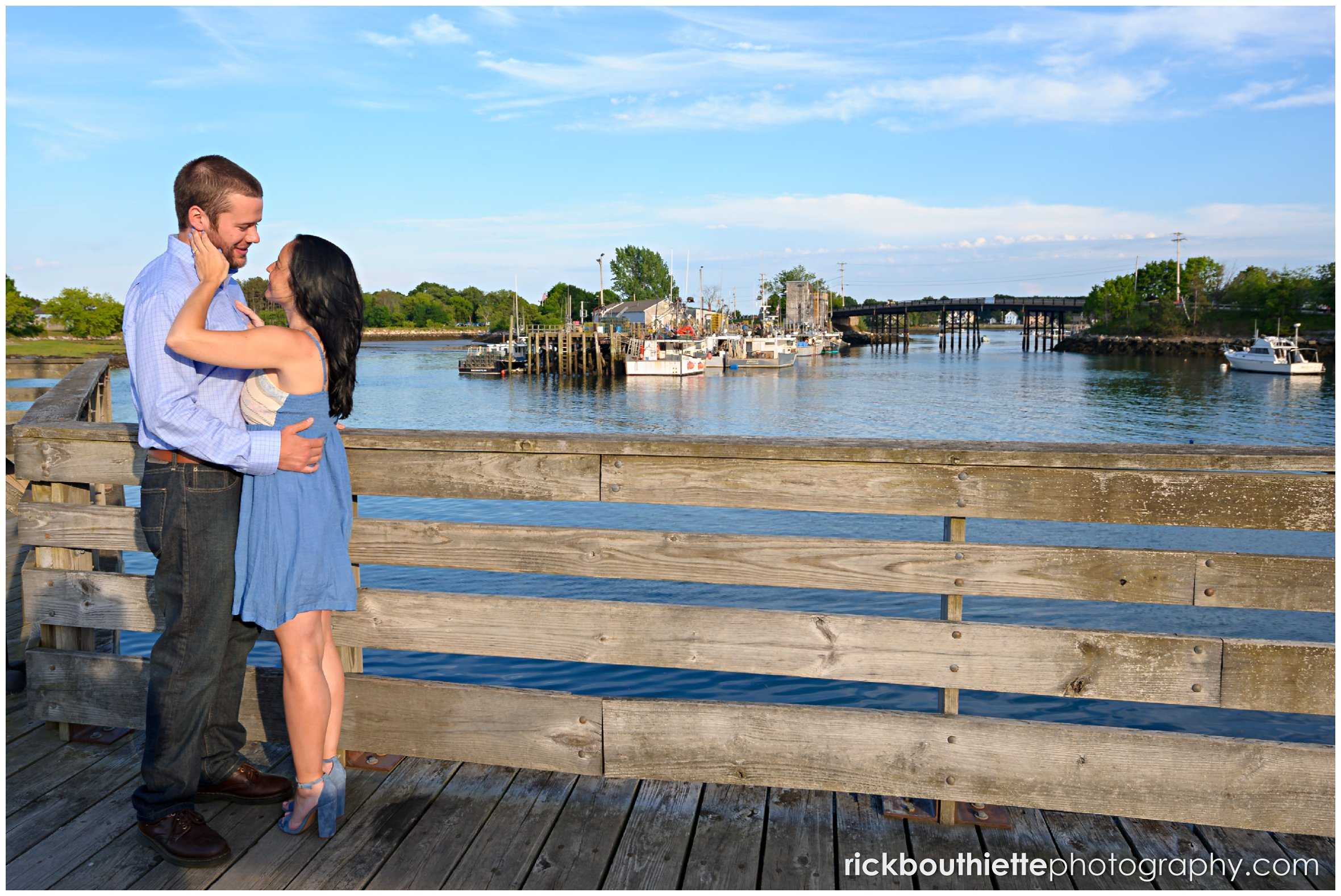 couple sharing romantic moment during seacoast engagement session