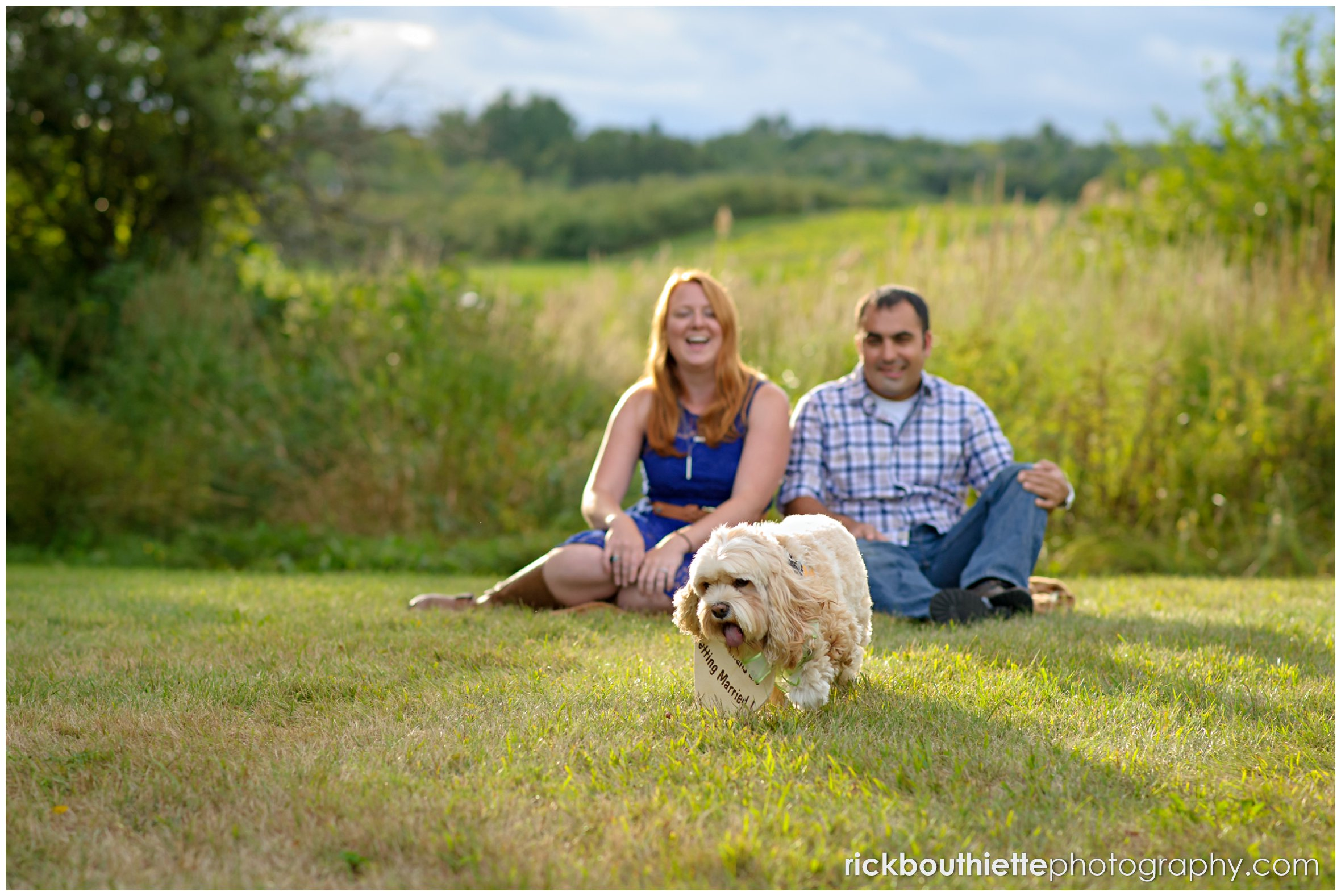 engaged couple with their dog at apple orchard engagement session