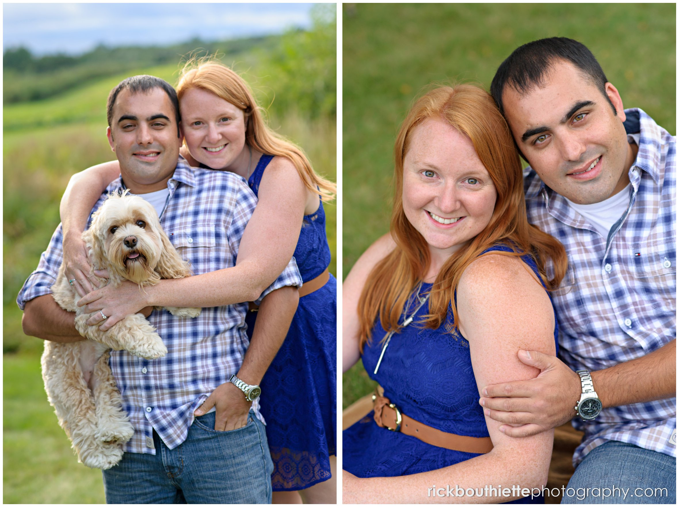 portrait of couple with their dog during their New Hampshire engagement session