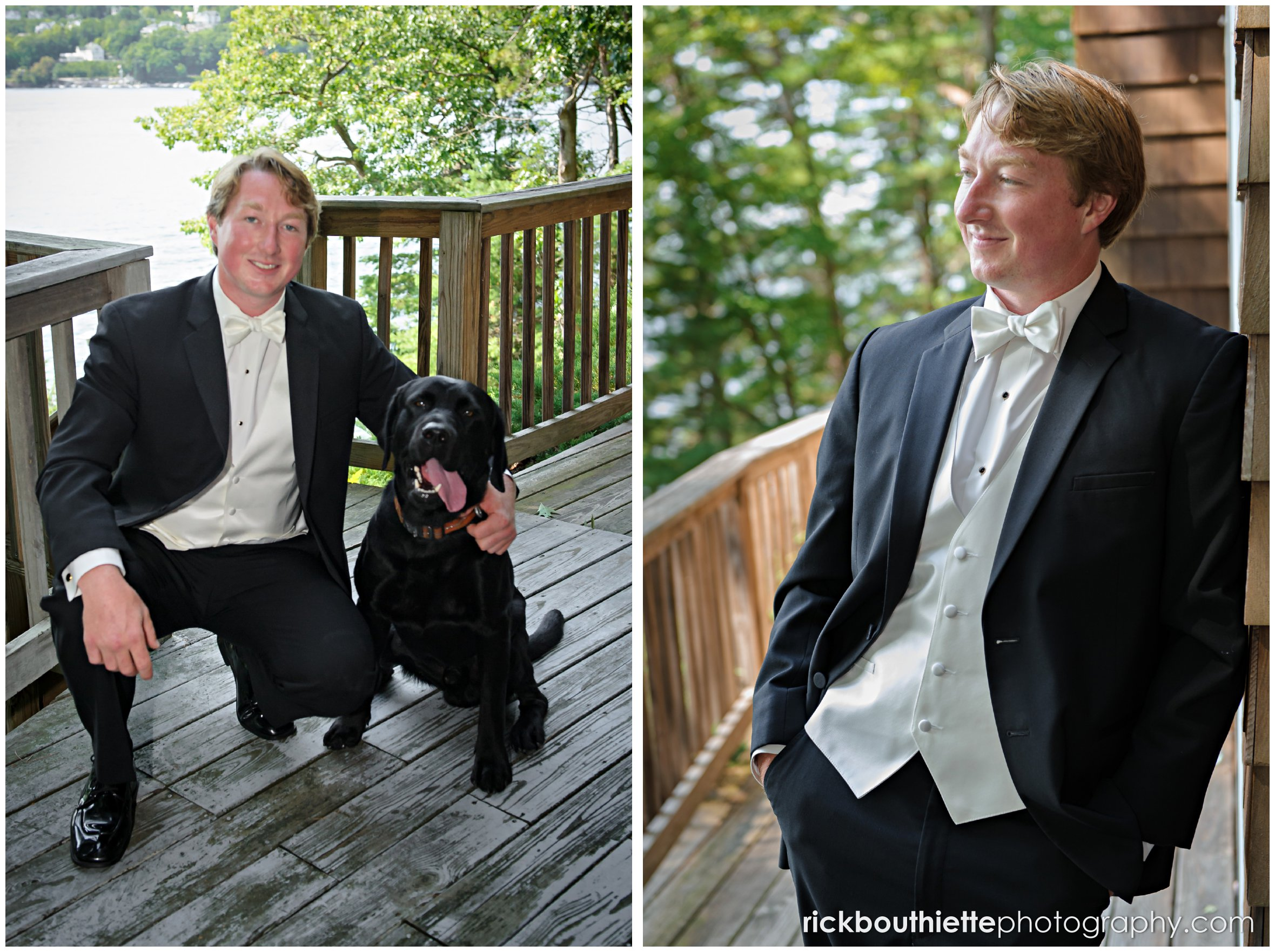 groom and his dog before Castle In The Clouds wedding