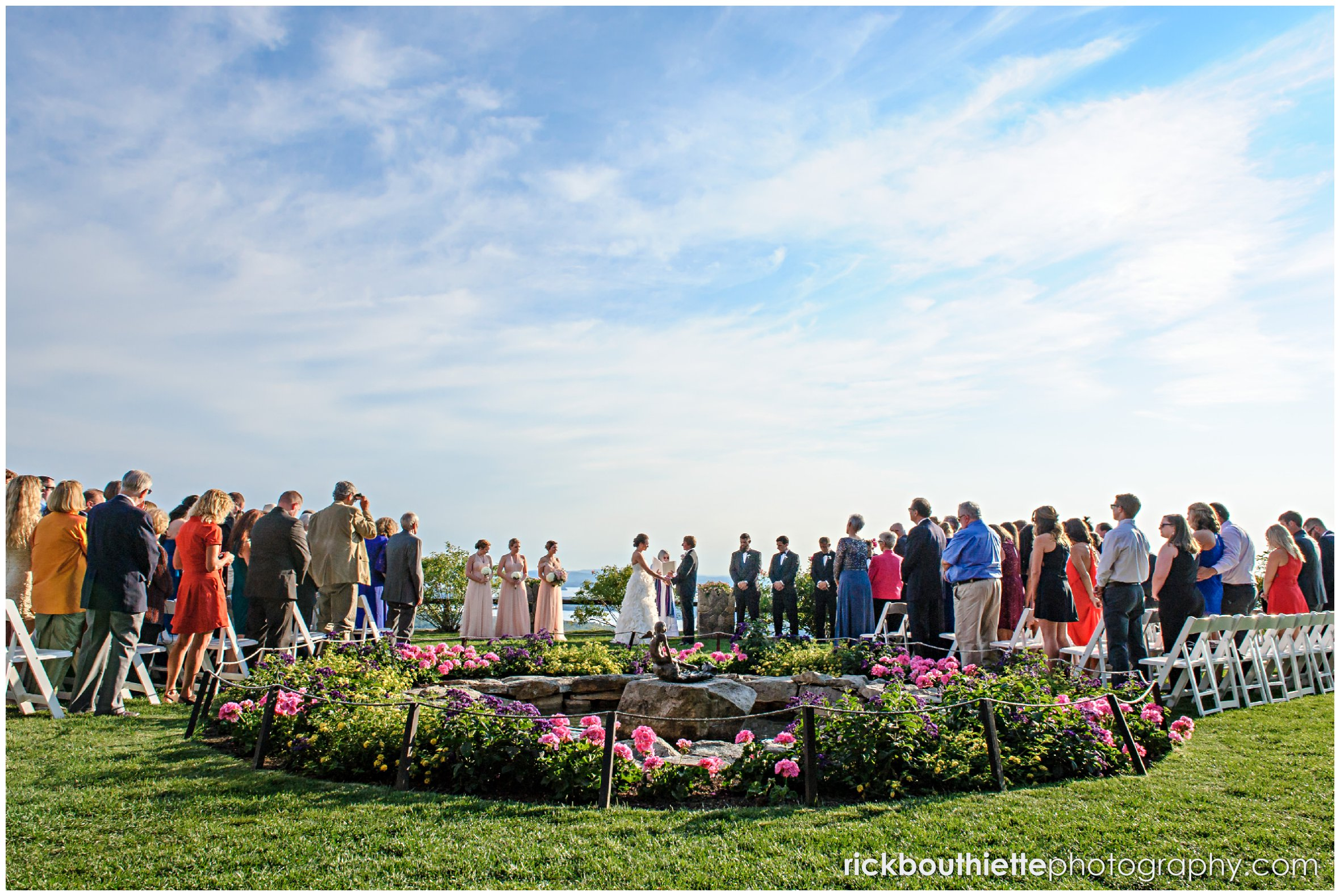 overall view of wedding ceremony at Castle In The Clouds wedding