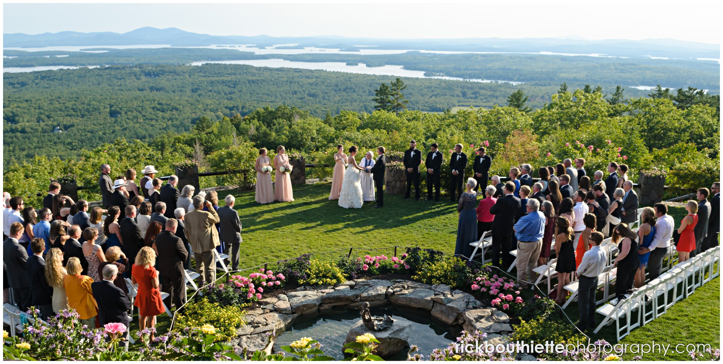 overall view of wedding ceremony from above at Castle In The Clouds wedding