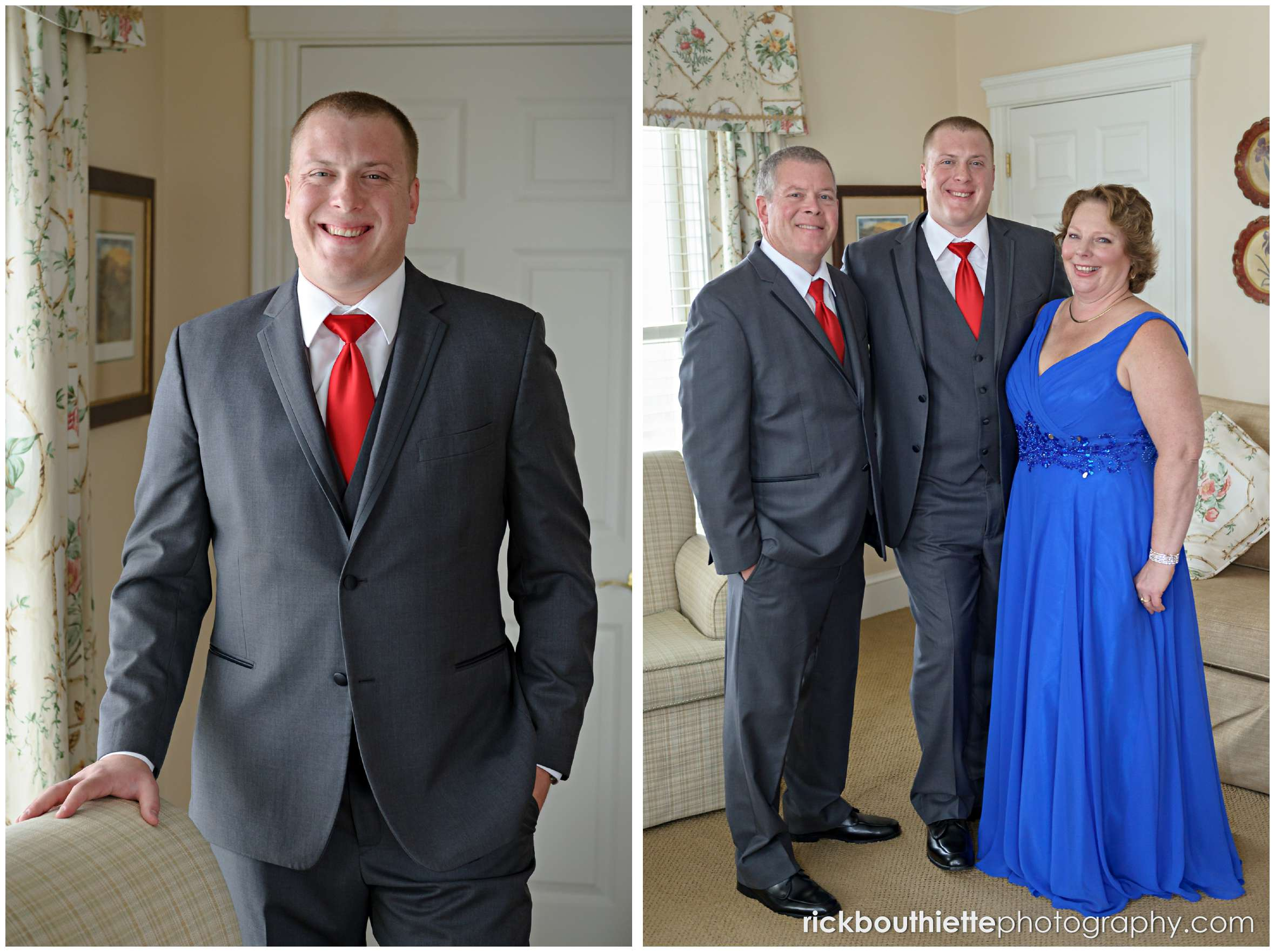 portrait of groom with his parents before his mountain view grand wedding ceremony