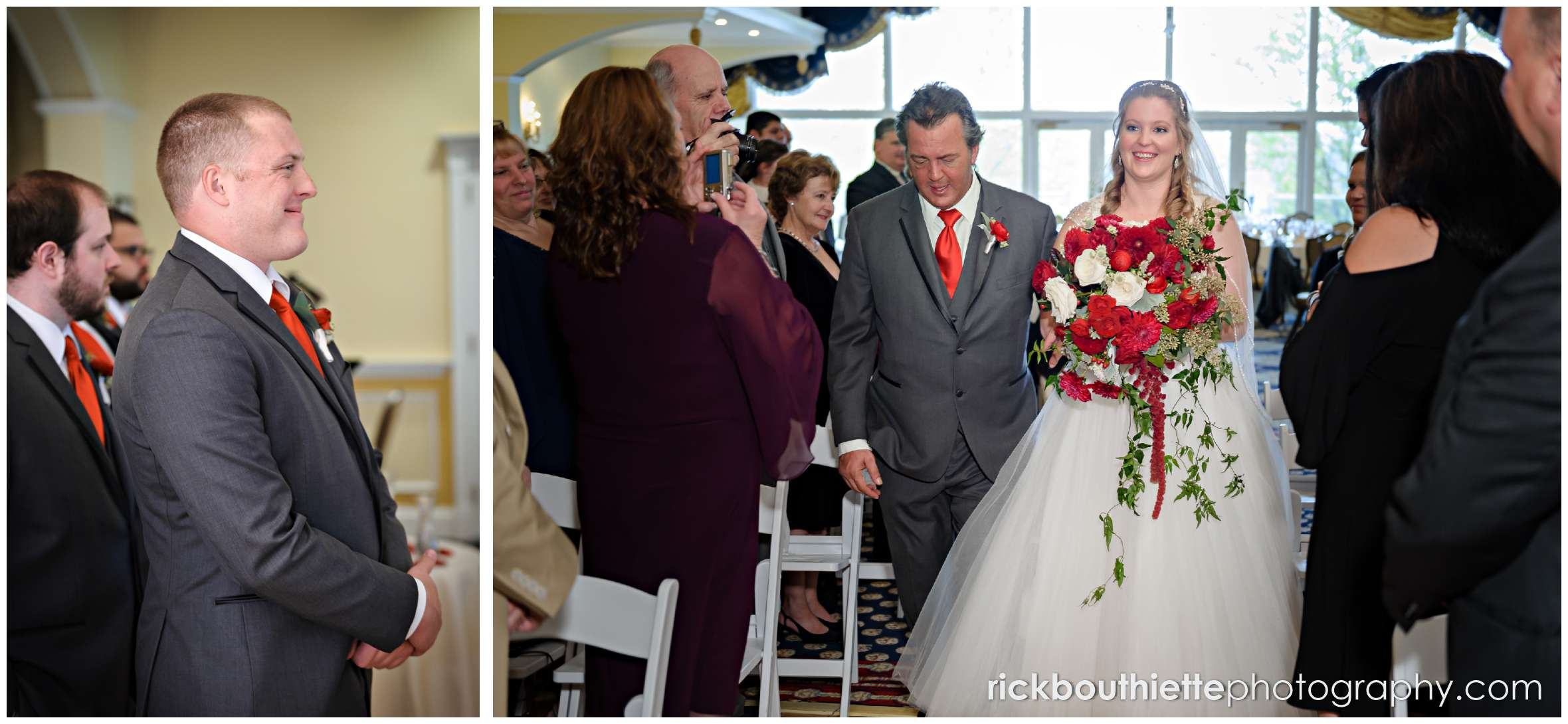 groom watching his bride walk down the aisle at mountain view grand wedding ceremony