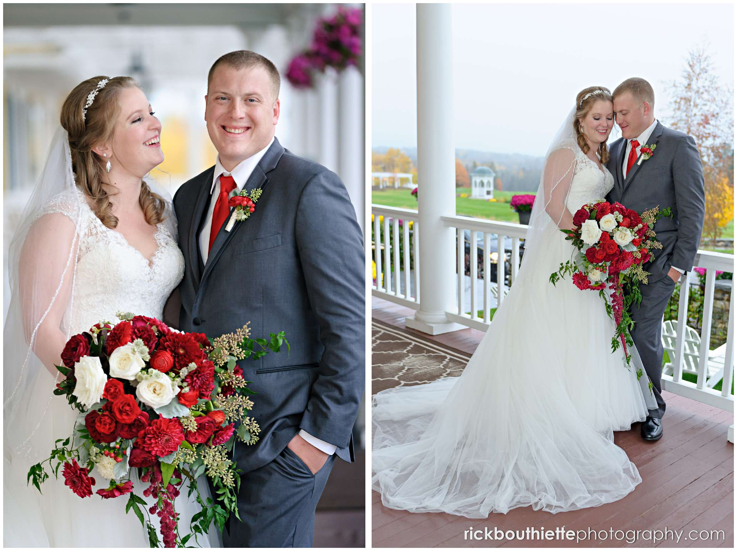 portraits of bride and groom on veranda at mountain view grand resort