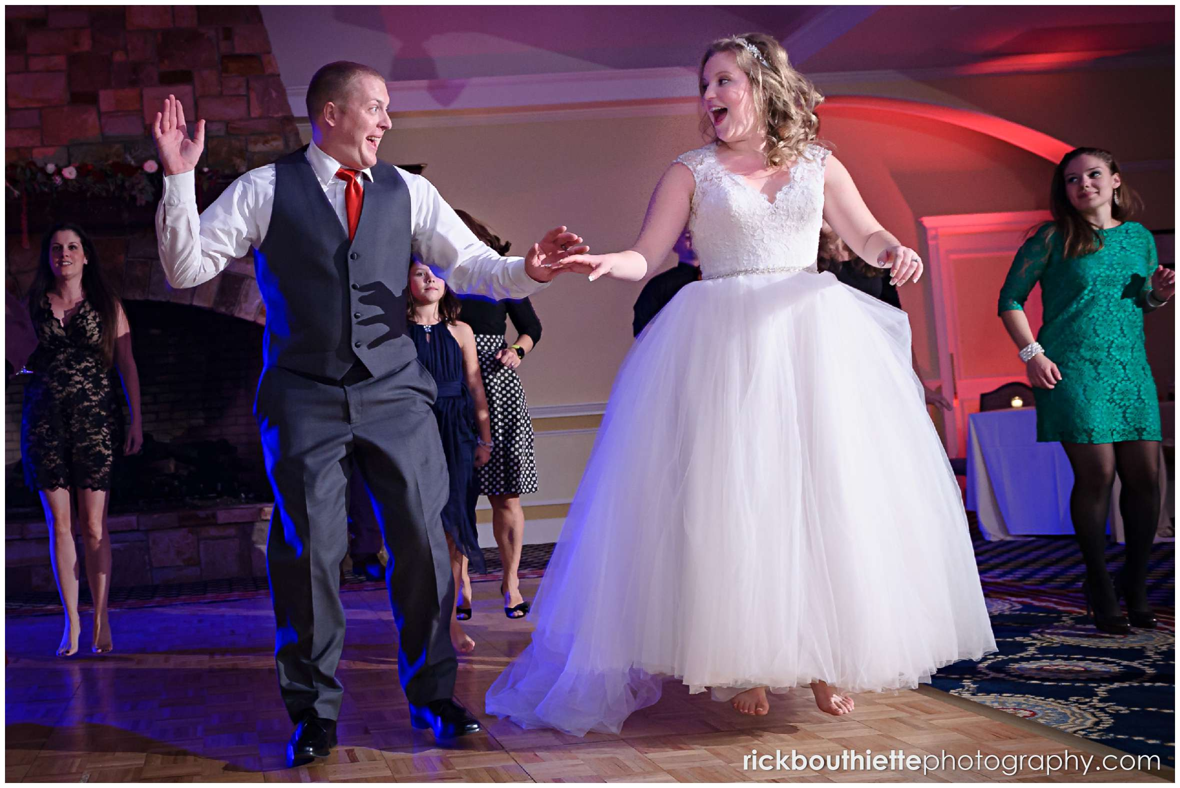 bride and groom dancing with guests at mountain view grand resort wedding