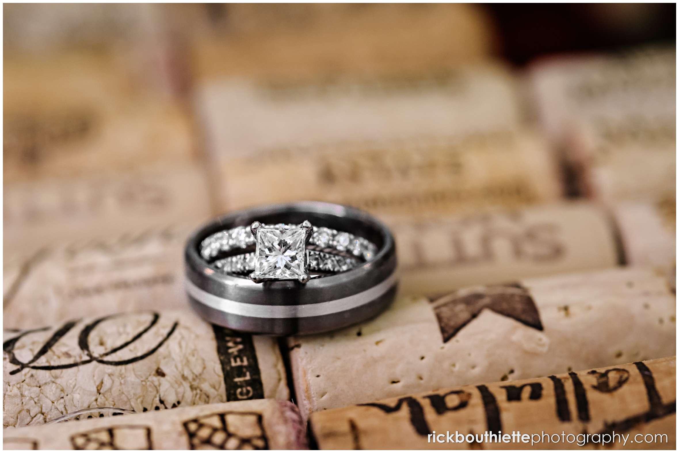 wedding rings on wine corks closeup