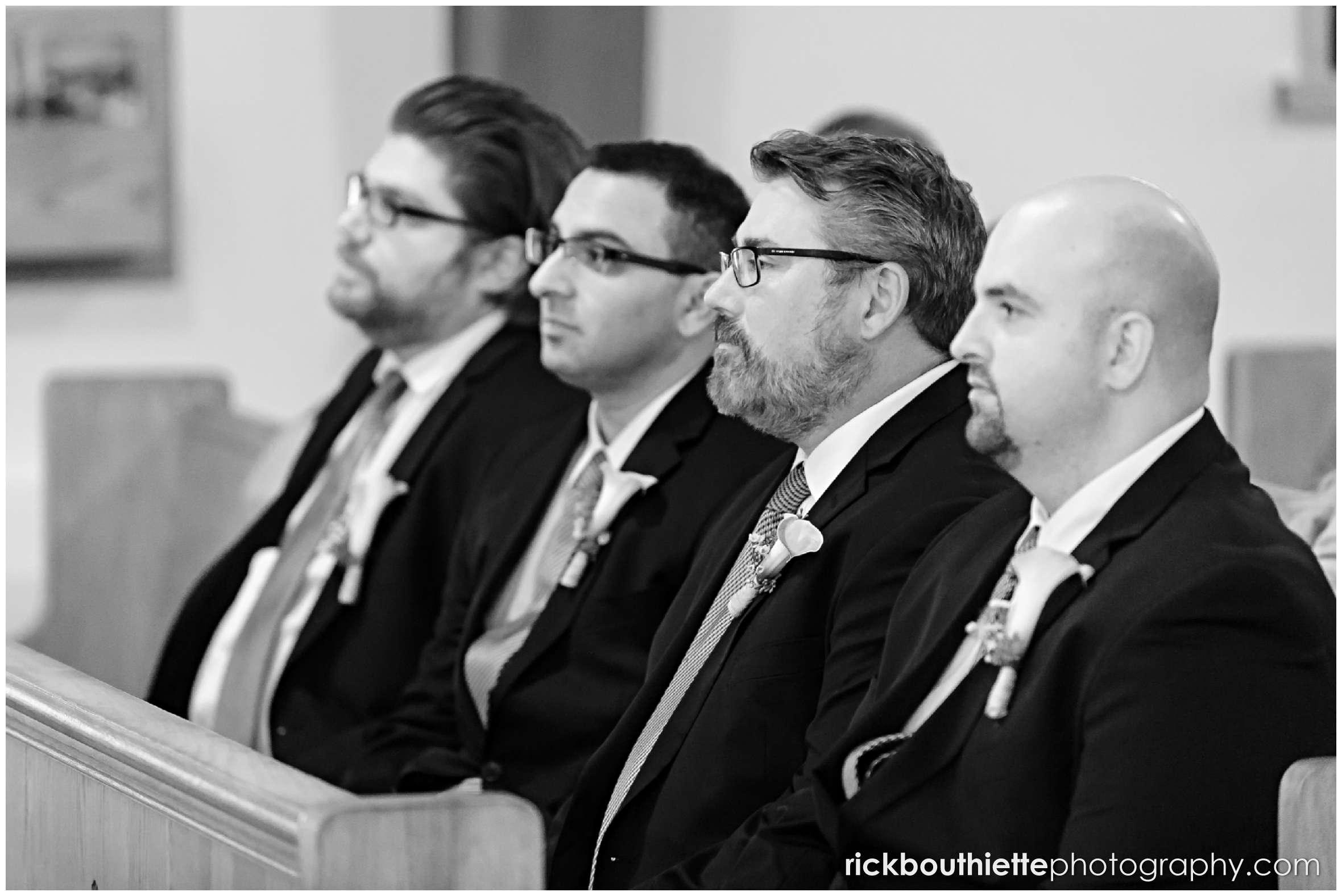 black & white of groomsmen at New Hampshire seacoast wedding ceremony