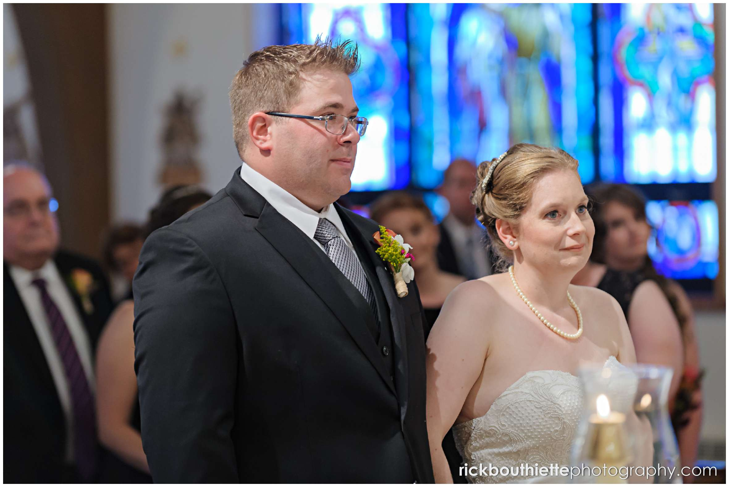 bride and groom at alter during seacoast wedding ceremony