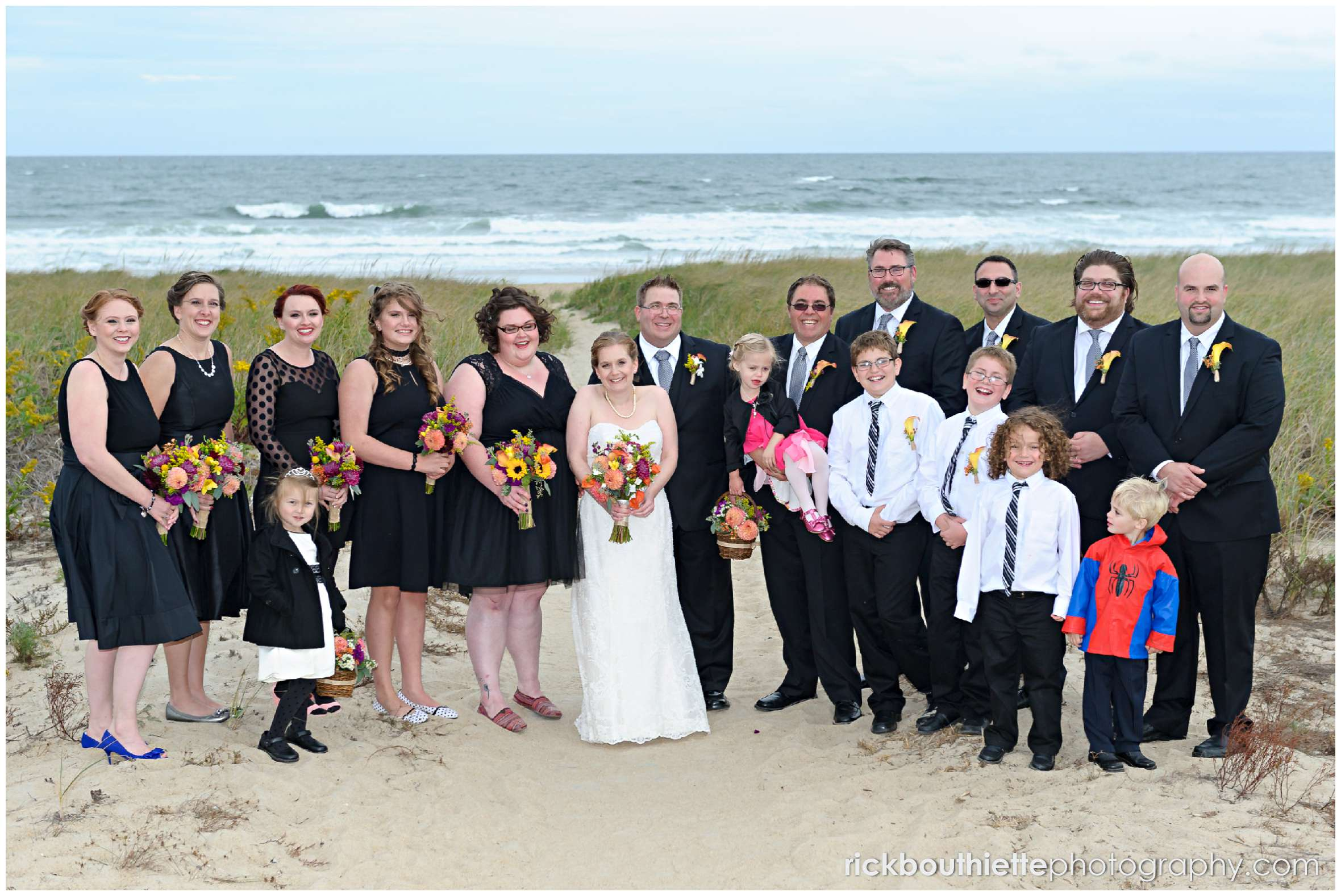 bridal party on beach at New Hampshire seacoast wedding