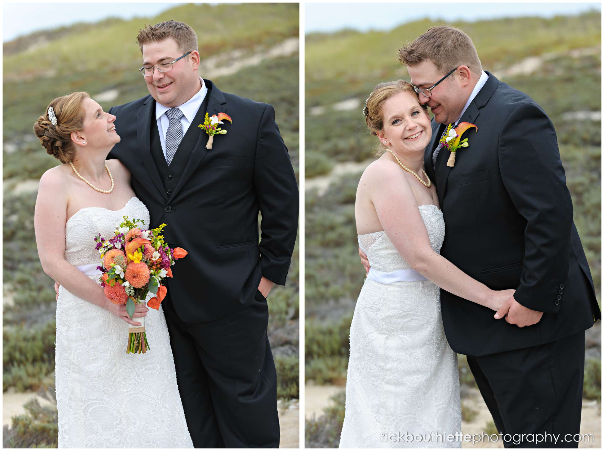 bride and groom portaits on Seabrook beach after their seacoast wedding ceremony