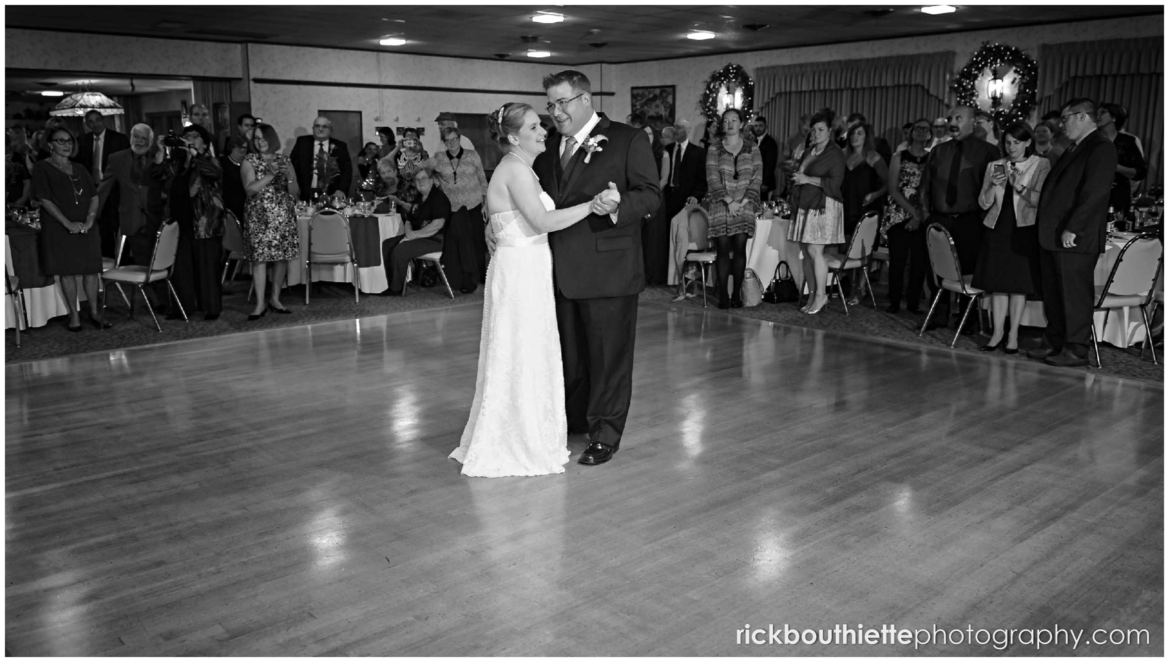 black and white of bride and groom's first dance at Harris' Pelham Inn wedding