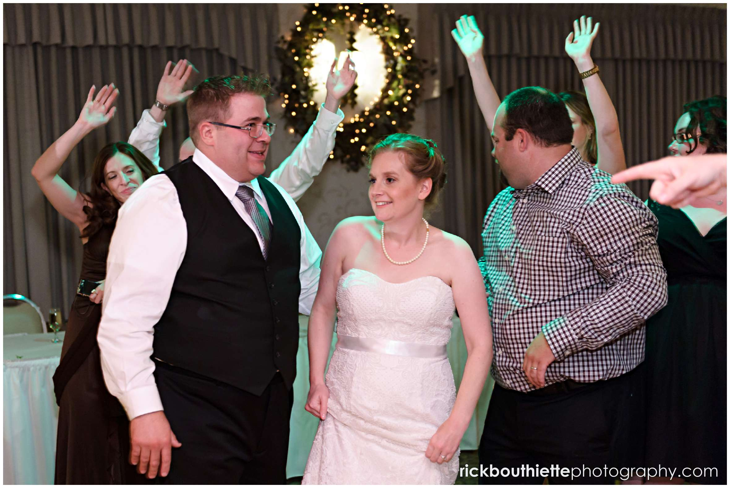 bride and groom dancing with guests at New Hampshire seacoast wedding