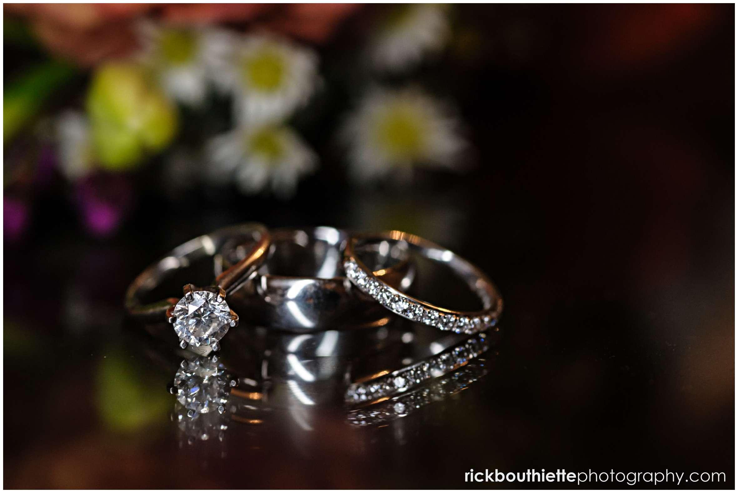 wedding rings close up at New Hampshire seacoast wedding