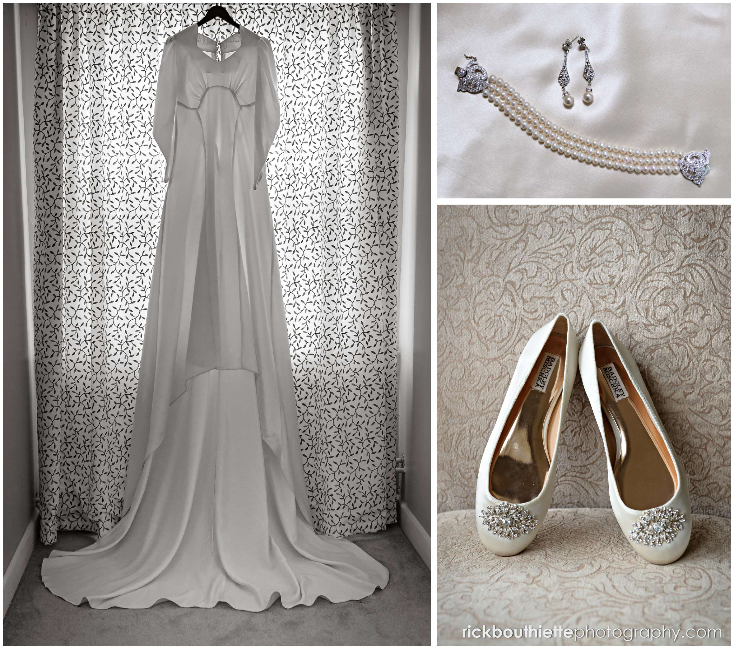 wedding dress, shoes and jewlery details