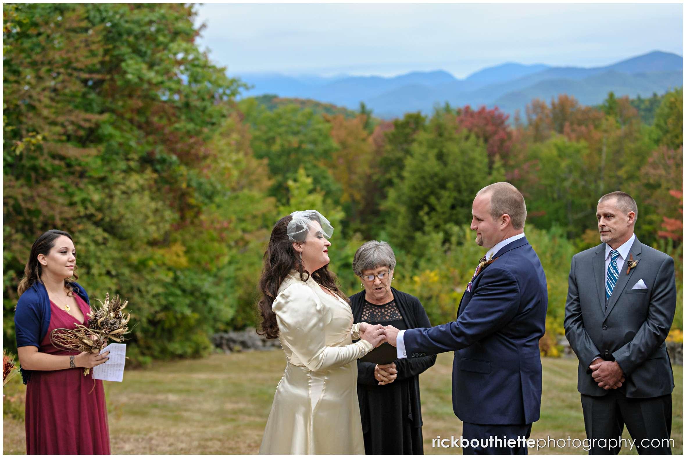 wedding ceremony at the Snowvillage Inn