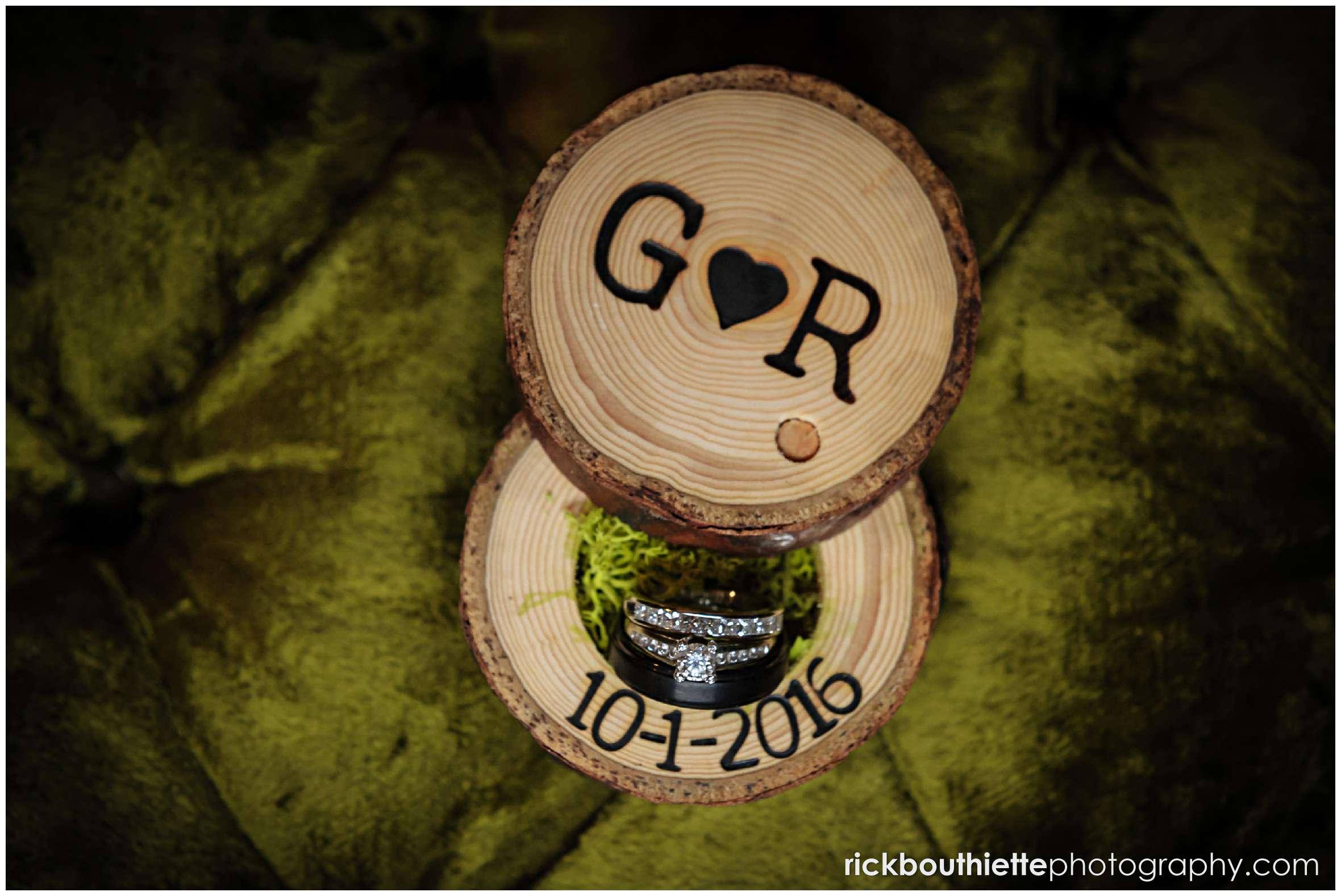 wedding rings in custom made rustic wooden box